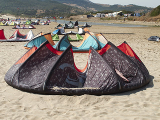Mediterranean beach with kite surf.