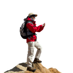 Female hiker consulting map on smart phone.