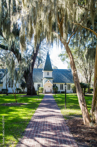 Small White Church Down Walk Under Spanish Moss