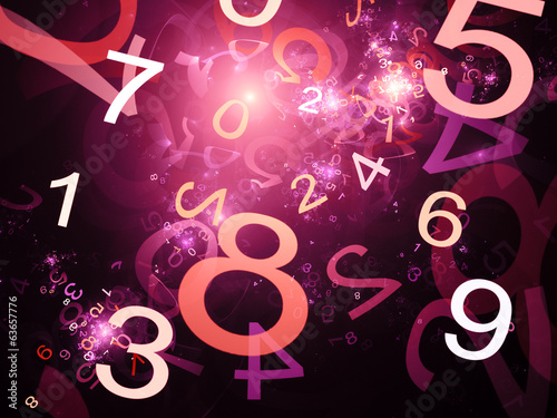 Numbers purple abstract background in space