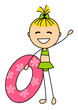 Cute little girl with lifebuoy