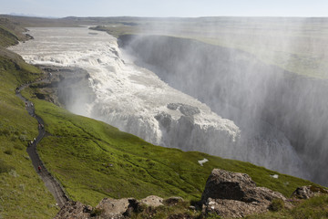 Iceland. South area. Golden Circle. Gullfoss waterfall.