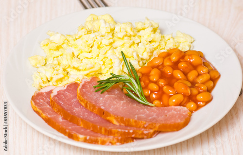 breakfast with eggs, beans and meat