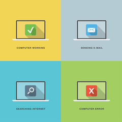Computer actions in flat vector style laptop colorful scenes