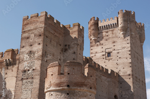 Antique castle. Towers and battlement. Medieval. Medina del Camp