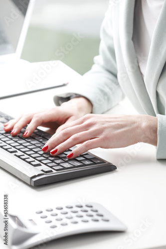 Businesswoman analyzing data