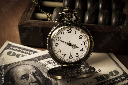 Time is money,vintage style color