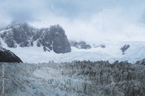 Glacier with mountains. Argentina. Perito Moreno.