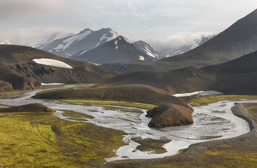 Iceland. South area. Fjallabak. Volcanic landscape with river.
