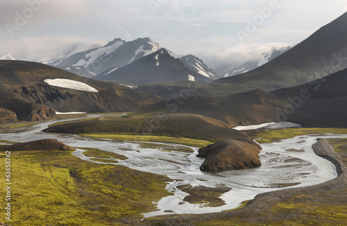 canvas print picture Iceland. South area. Fjallabak. Volcanic landscape with river.