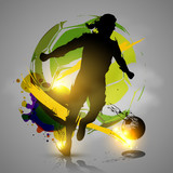 silhouette soccer player ink splatters