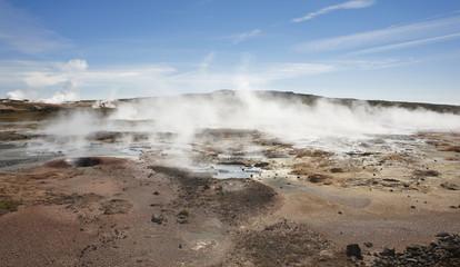 Iceland. Reykjanes Peninsula. Gunnuhver geothermal area. Boiling
