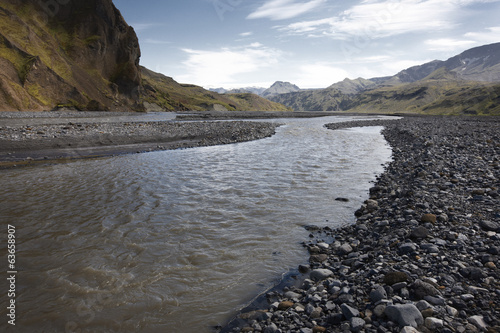 Iceland. South area. Landscape near Porsmork. River an mountains