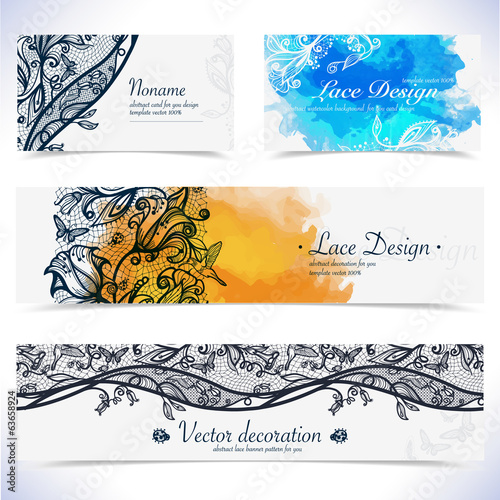 Abstract lace floral banner and visit card.