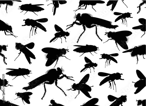 seamless background from black fly silhouettes