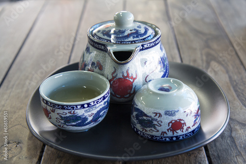 traditional  teapot and teacups on wooden desk