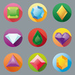 Set of nine flat design gem vector icons