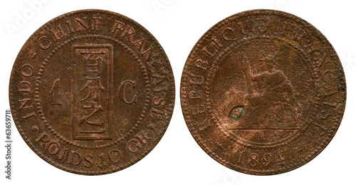 one cent, French Indo-China, 1894