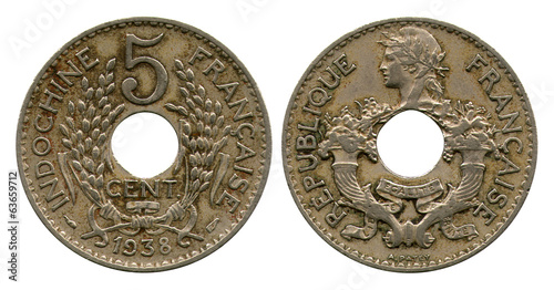 five cents, French Indo-China, 1938