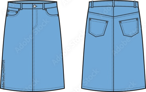 Vector illustration of women's jeans skirt
