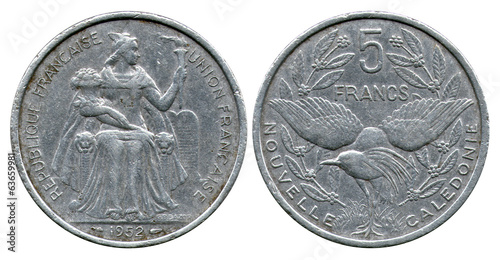 five francs, New Caledonia, 1952