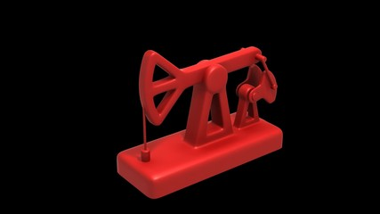 Pumpjack. 3D Animation. Loop. Alpha Matte.