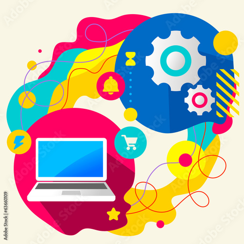 Laptop and gears on abstract colorful splashes background with d