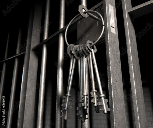 Jail Cell With Open Door And Bunch Of Keys
