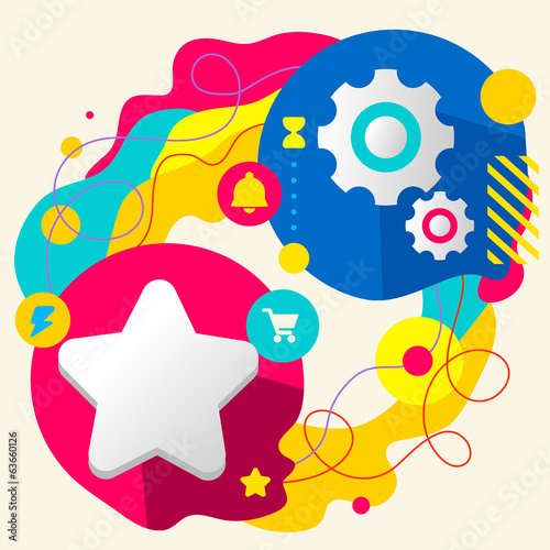 Star and gears on abstract colorful splashes background with dif