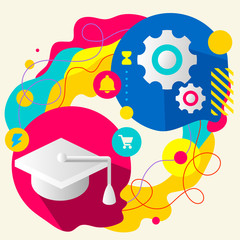 Academic hat and gears on abstract colorful splashes background