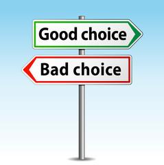 Vector good or bad choice sign