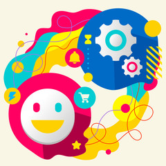 Smile and gears on abstract colorful splashes background with di