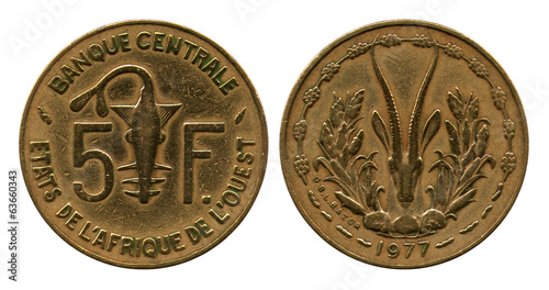 five francs CFA, 1977