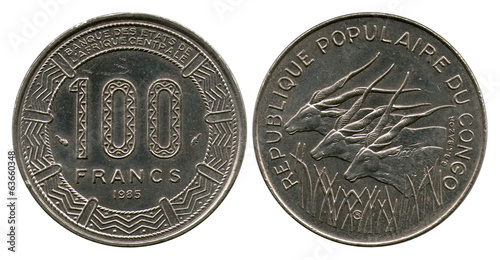 one hundred francs, Congo, 1985
