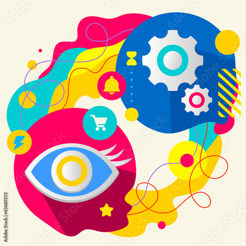 Eye and gears on abstract colorful splashes background with diff