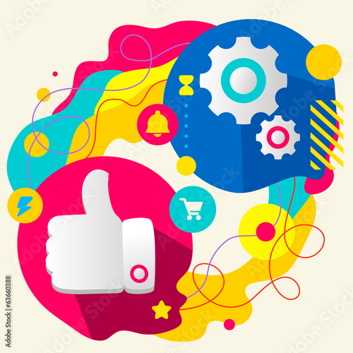 Thumb up and gears on abstract colorful splashes background with
