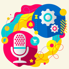 Microphone and gears on abstract colorful splashes background wi