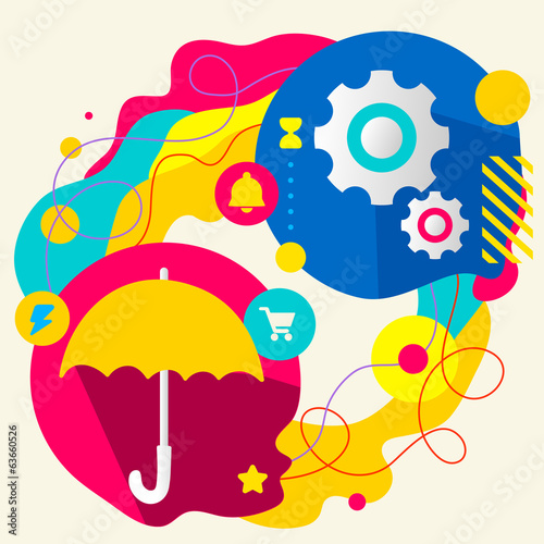 Umbrella and gears on abstract colorful splashes background with