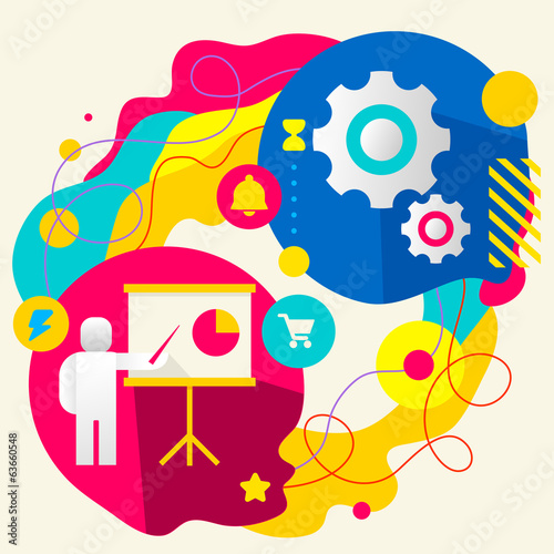 Human with a pointer and gears on abstract colorful splashes bac