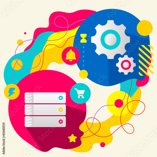 Database and gears on abstract colorful splashes background with