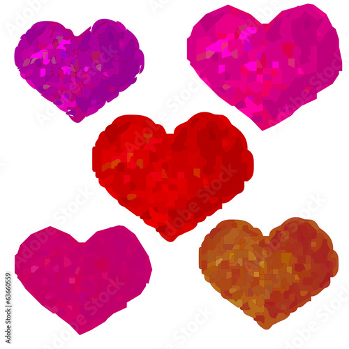 five vector hearts on white background