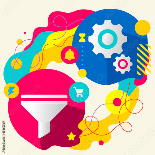 Funnel and gears on abstract colorful splashes background with d