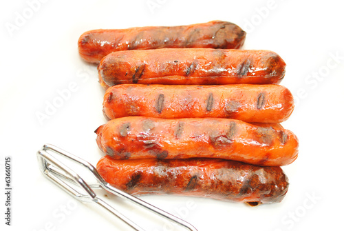 Grilled Hotdogs with Tongs Over White