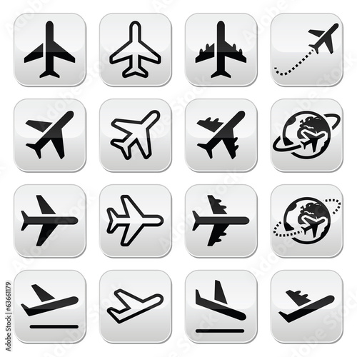 Plane, flight, airport icons set