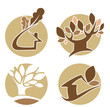 vector set of round ecology, nature, and homes icons