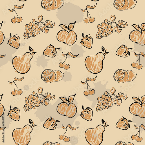 Doodles Fruits Seamless Pattern