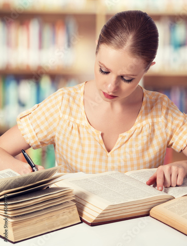 happy student girl reading books