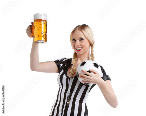 beautiful sexy woman or girl in soccer referee clothes