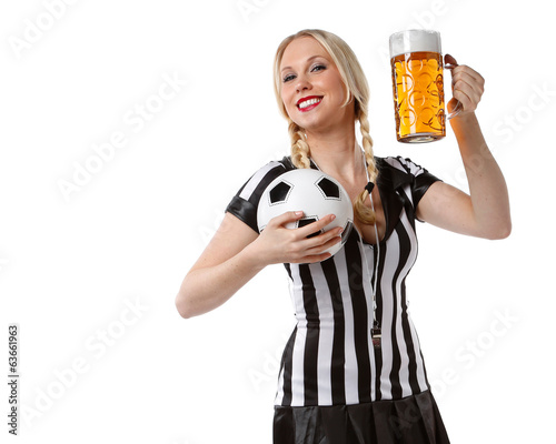 canvas print picture woman in soccer referee clothes and beer and a ball