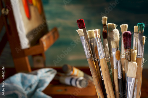 A collection of artist's brushes